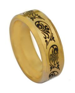 COI Gold Tone Tungsten Carbide Tribal Pattern Ring - TG1077A