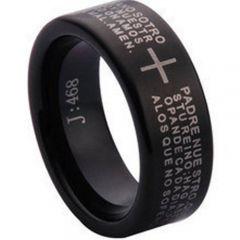 COI Black Tungsten Carbide Cross Scripture Ring-TG1097