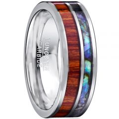 COI Tungsten Carbide Abalone Shell & Wood Flat Ring-TG1206