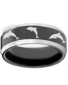 COI Tungsten Carbide Dolphin Beveled Edges Ring-TG1234
