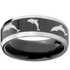 COI Titanium Black Silver Dolphin Beveled Edges Ring-1234