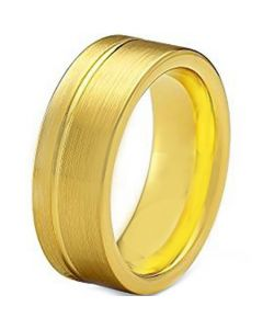 COI Gold Tone Tungsten Carbide Offset Groove Ring-TG1246AA