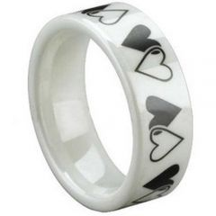 COI White Ceramic Double Heart Pipe Cut Flat Ring-TG1298