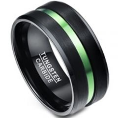 COI Tungsten Carbide Black Green Center Groove Ring-TG1356