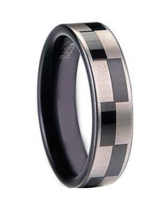 COI Black Tungsten Carbide Checkered Flag Pipe Cut Ring-TG1413