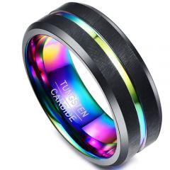 COI Black Tungsten Carbide Rainbow Pride Center Groove Ring-1414