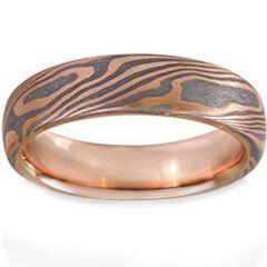 COI Tungsten Carbide Rose Silver Damascus Dome Ring-TG1474AA