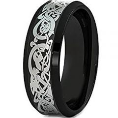 COI Black Tungsten Carbide Dragon Beveled Edges Ring-TG1500AA
