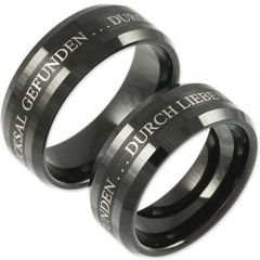 COI Black Tungsten Carbide Ring With Custom Engraving-TG159A