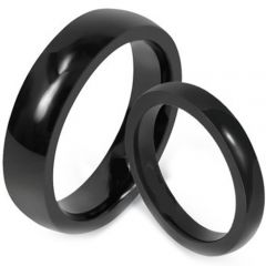COI Black Tungsten Carbide Dome Court Ring-TG1619
