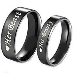 COI Black Tungsten Carbide Beauty Beast Flat Ring-TG1814