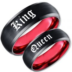 COI Tungsten Carbide Black Red King Queen Ring-TG1830