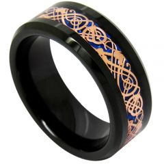 COI Tungsten Carbide Black Rose Dragon Beveled Edges Ring-TG1896