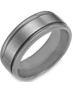 COI Tungsten Carbide Double Grooves Ring-TG1927