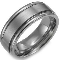 COI Titanium Double Grooves Wedding Band Ring - JT017