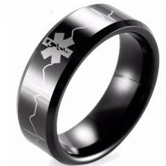 COI Black Titanium Medic Alert Heartbeat Beveled Edges Ring-1957