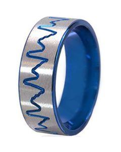 COI Tungsten Carbide Blue Silver Heartbeat Ring-TG195