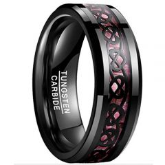 COI Black Tungsten Carbide Carbon Fiber Heart Ring - TG2075BB