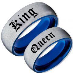 COI Tungsten Carbide Blue Silver King Queen Ring-TG2095