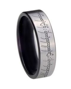 COI Tungsten Carbide Black Silver Lord of The Ring Ring-TG2213