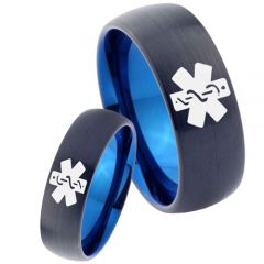 COI Tungsten Carbide Black Blue Medic Alert Dome Ring-TG2272