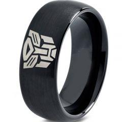 COI Black Tungsten Carbide Transformer Dome Court Ring-TG2286
