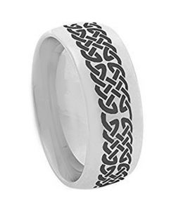 COI Tungsten Carbide Cross Celtic Dome Court Ring-2366