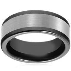 COI Black Silver Tungsten Carbide Pipe Cut Flat Ring-TG2377