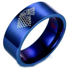 COI Blue Tungsten Carbide Game of Thrones Ice Wolf Ring-TG2424