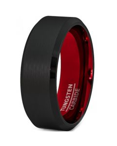 COI Tungsten Carbide Black Red Beveled Edges Ring-TG2547