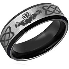 COI Tungsten Carbide Black Silver Mo Anam Cara Ring-TG2589