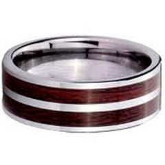 COI Tungsten Carbide Wood Pipe Cut Flat Ring-TG2602