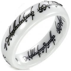 COI White Ceramic Lord of The Ring Dome Court Ring-TG2755
