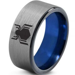 COI Tungsten Carbide Blue Silver Spiderman Ring-TG2759