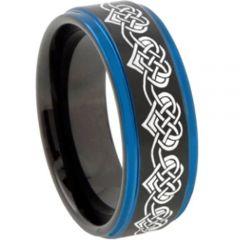 COI Tungsten Carbide Black Blue Hearts Step Edges Ring-TG2769