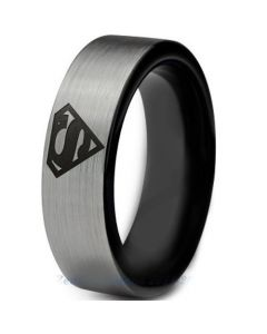 COI Tungsten Carbide Black Silver Superman Ring-TG2776