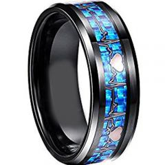 COI Tungsten Carbide Heartbeat Ring With Carbon Fiber-TG2795