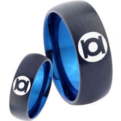 COI Tungsten Carbide Black Blue Green Lantern Ring-TG2807
