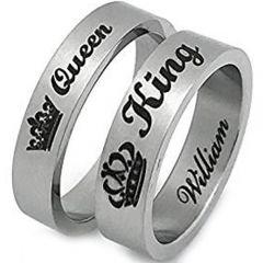 COI Tungsten Carbide King Queen Crown Flat Ring-TG2856AA