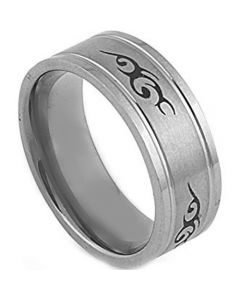 COI Tungsten Carbide Celtic Double Grooves Ring-TG2873