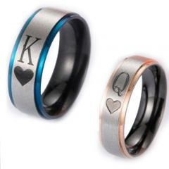 COI Tungsten Carbide Black Blue/Rose King Queen Heart Ring-TG2875