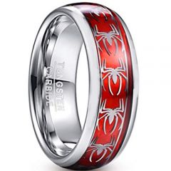 COI Tungsten Carbide Silver Red Spiderman Ring-TG2901