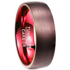 COI Tungsten Carbide Espresso Red Dome Court Ring-TG2918