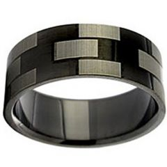 COI Tungsten Carbide Checkered Flag Pipe Cut Flat Ring-TG2924