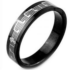 COI  Black Tungsten Carbide Music Note Pipe Cut Flat Ring-TG2926