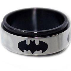 COI Tungsten Carbide Black Silver Batman Ring-TG2960