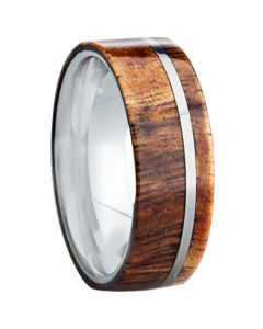 COI Tungsten Carbide Pipe Cut Flat Ring With Wood-2994