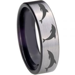 COI Tungsten Carbide Black Silver Dolphin Pipe Cut Ring-TG3044