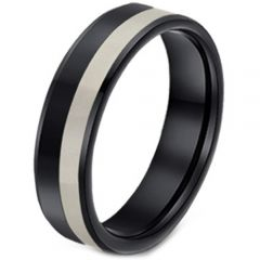 COI Tungsten Carbide Black Silver Pipe Cut Flat Ring-TG3091A