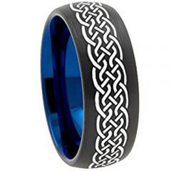 COI Tungsten Carbide Black Blue Celtic Dome Court Ring-TG3151AA
